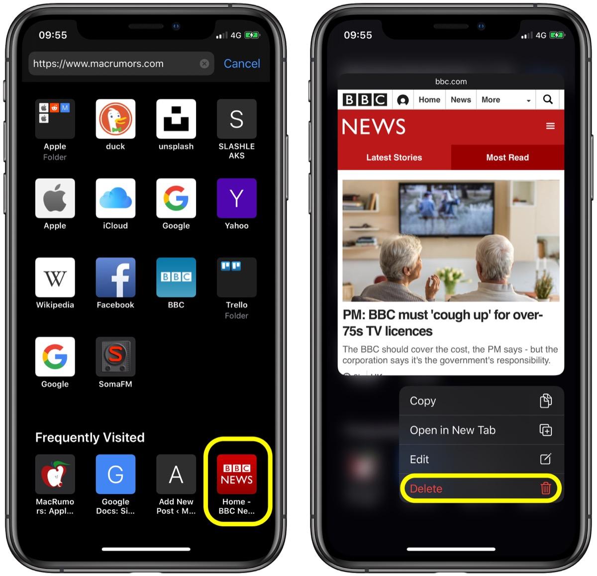 怎么在 iOS 设备中的 Safari 起始页删除常访网站